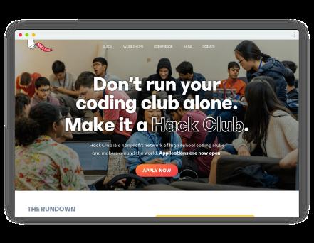 Mockup of Hack Club website